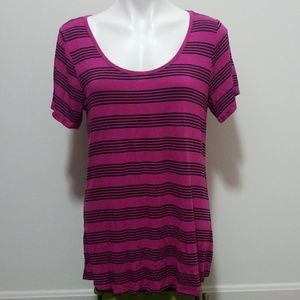 Lulatoe Purple Striped Scoop Neck Tee Shirt Dress